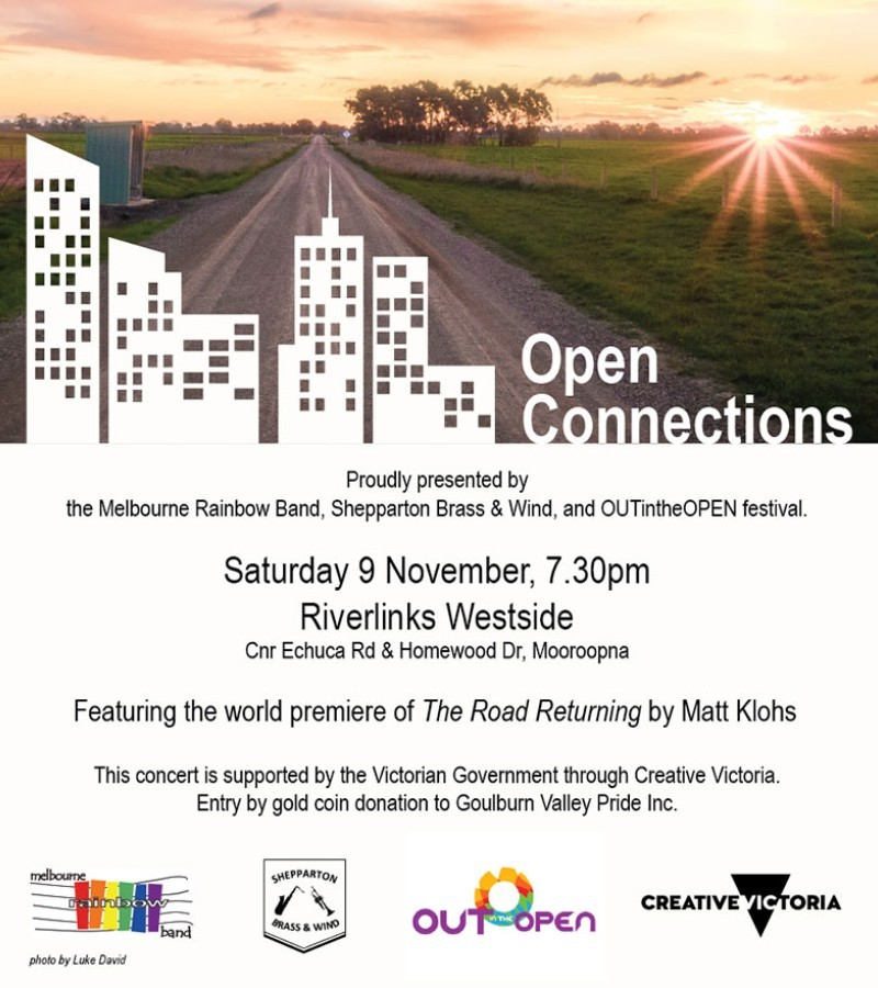 Melbourne Rainbow Band, Shepparton Brass and Wind and OUTintheOPEN Festival present Open Connections
