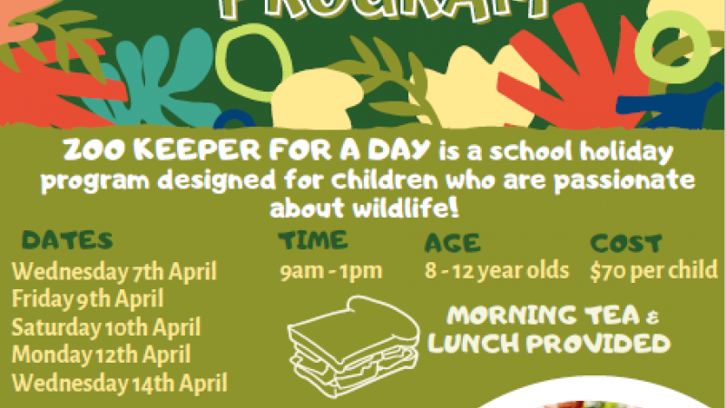 Zoo Keeper for a Day - School Holiday Program